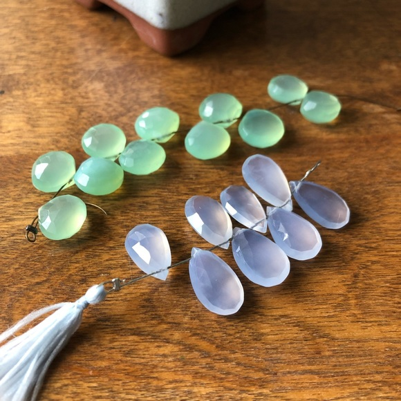2 strands green + blue Chalcedony briolette beads
